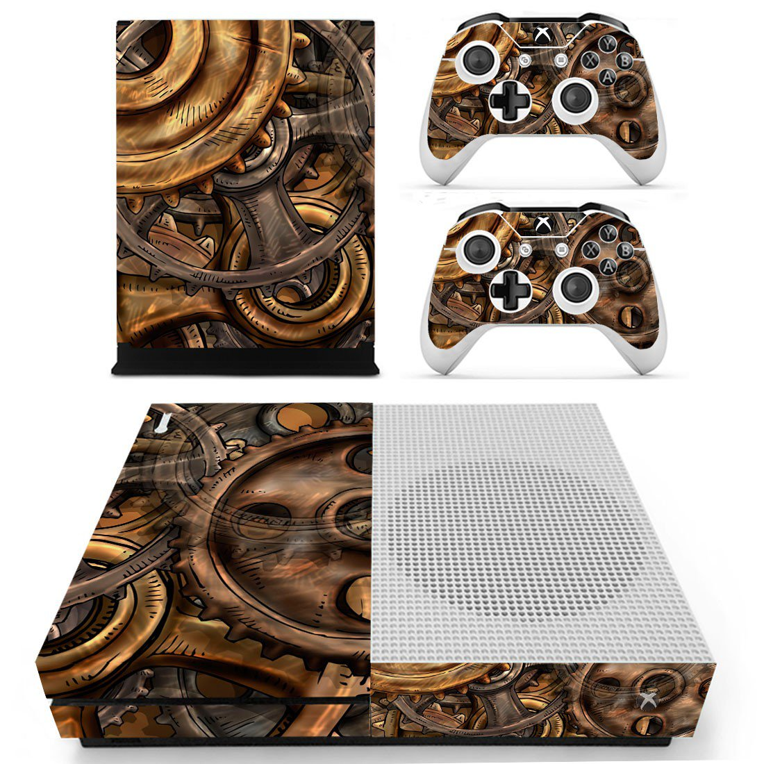 Copper Gears skin decal for Xbox one S console and controllers