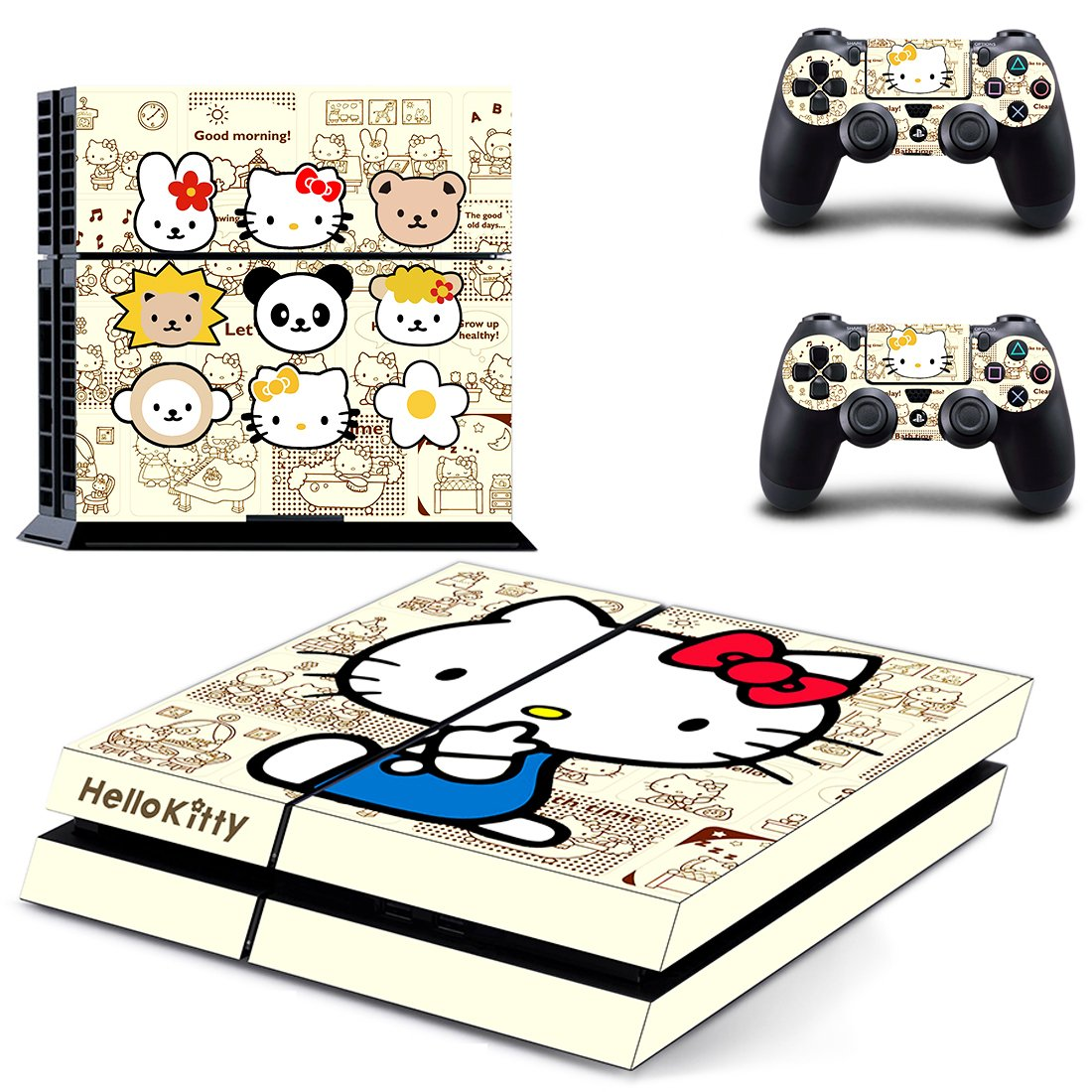 Hello Kitty skin decal for PS4 PlayStation 4 console and 2 controllers