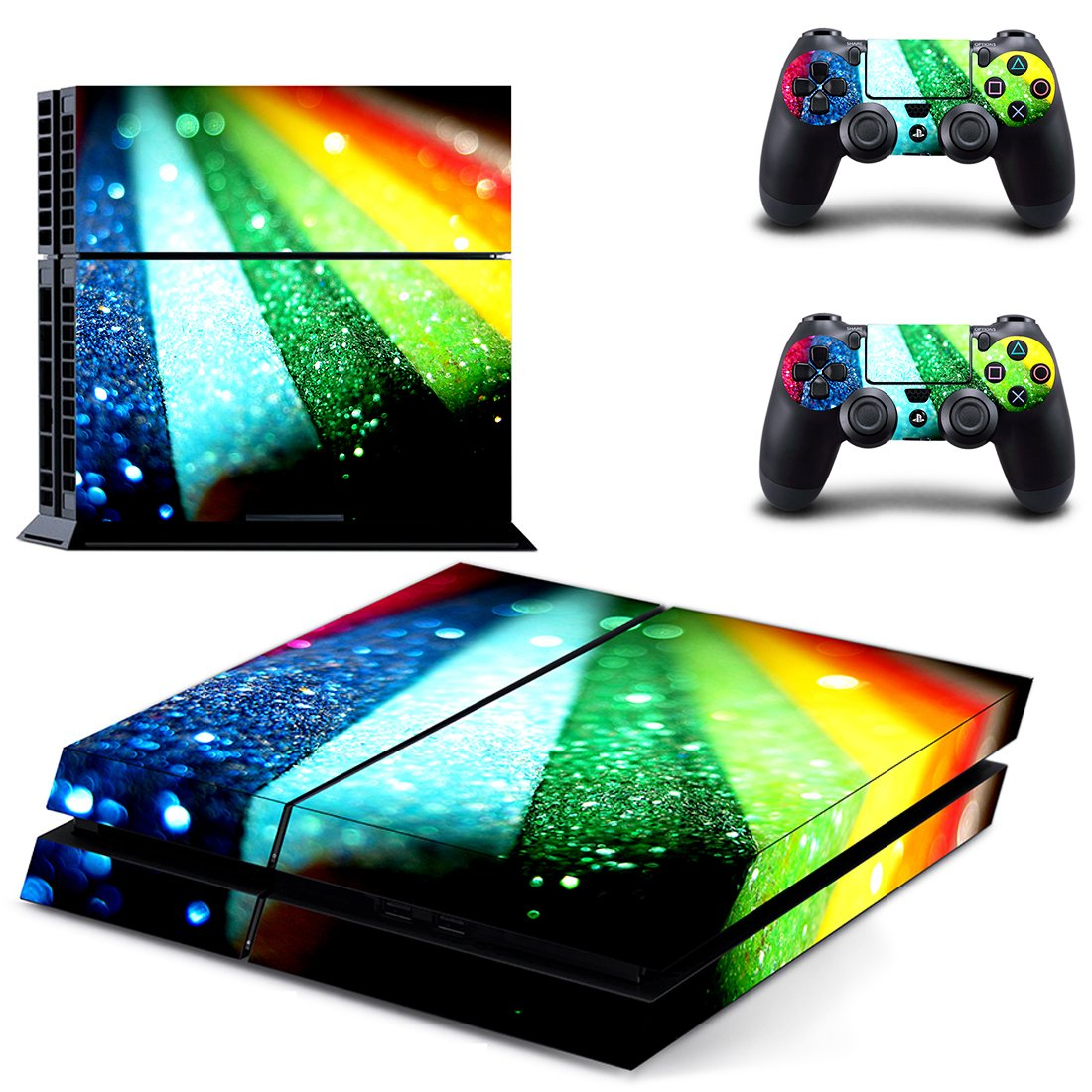 Colorful Sheet skin decal for PS4 PlayStation 4 console and 2 controllers