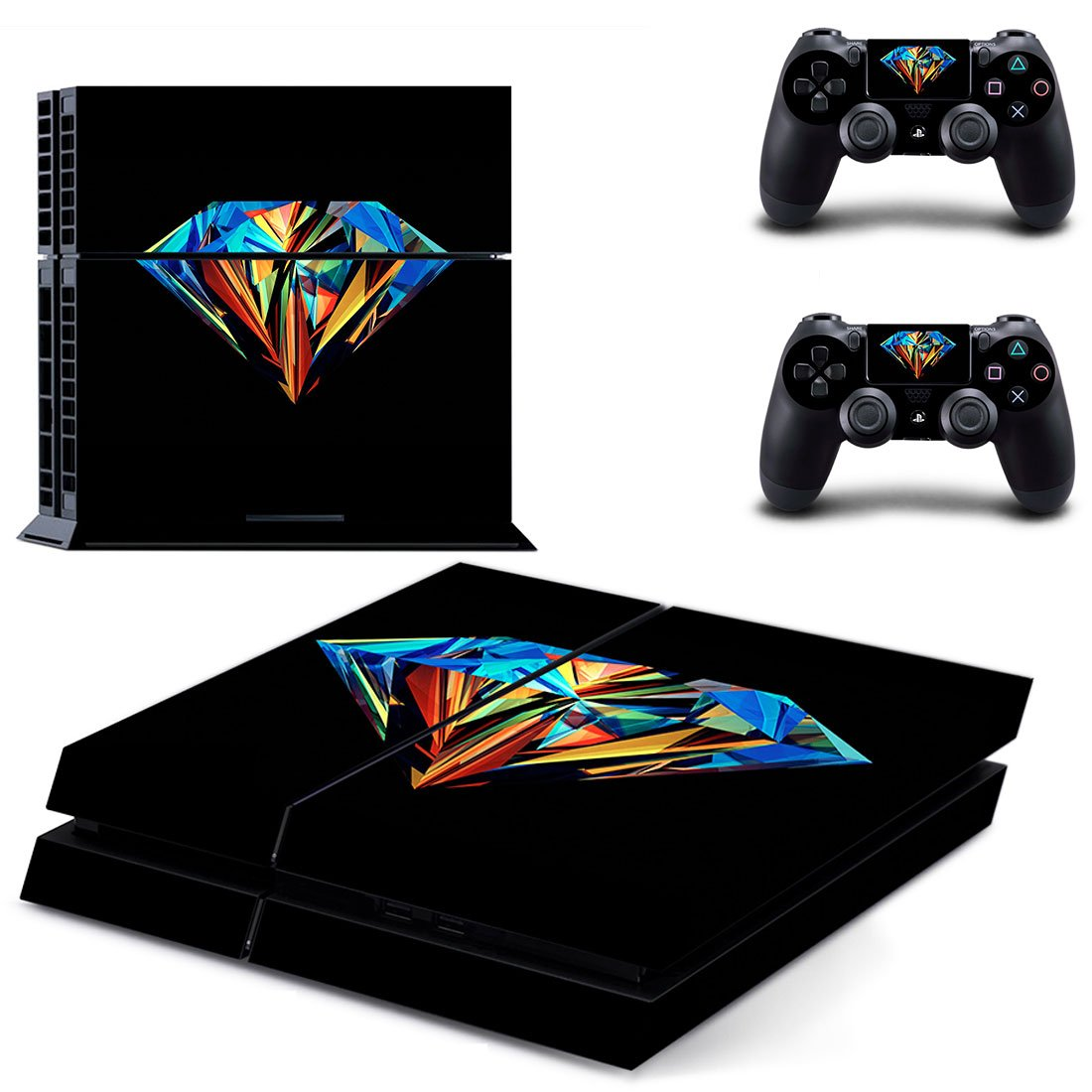 Colorful Diamond  skin decal for PS4 PlayStation 4 console and 2 controllers