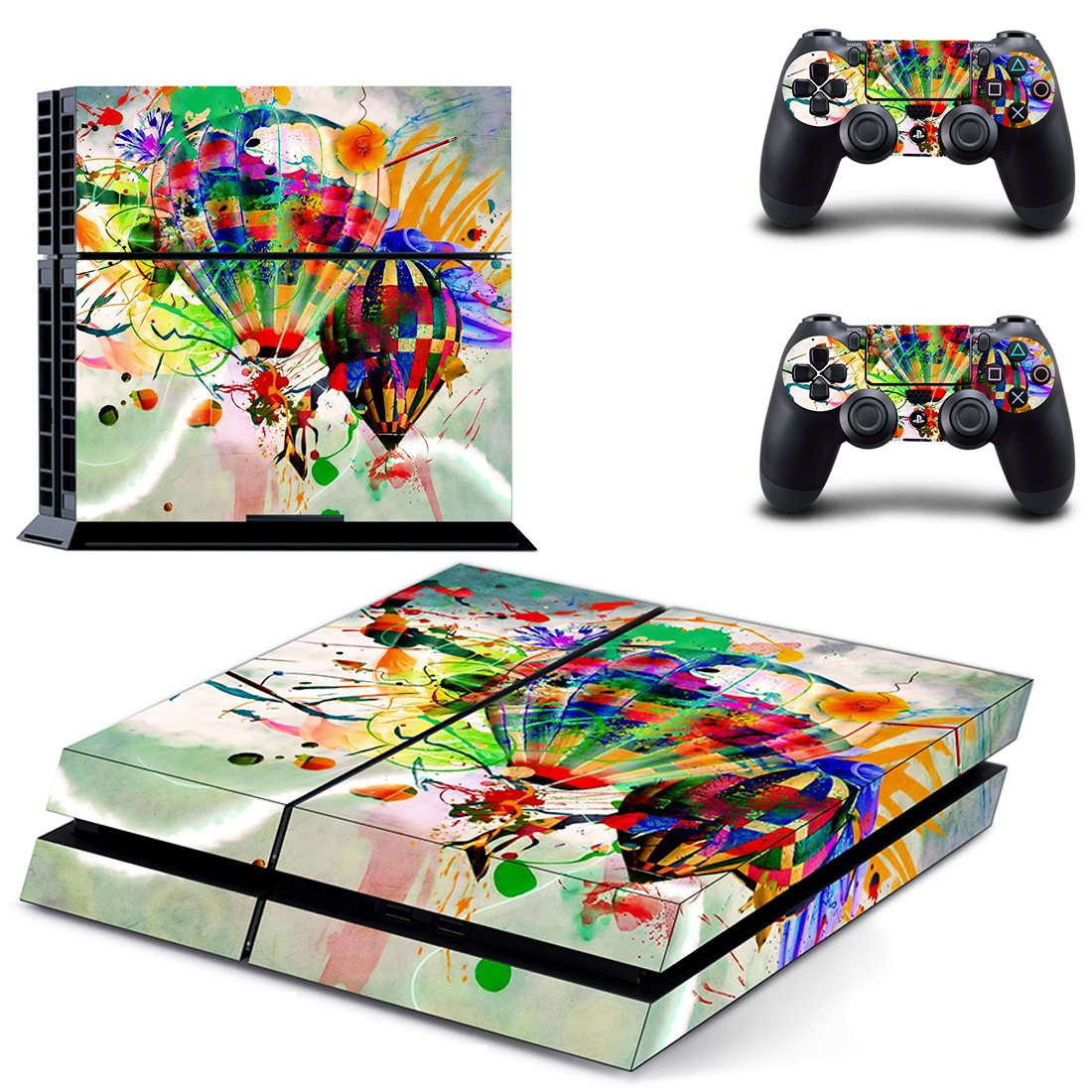 Colorful Parachute  skin decal for PS4 PlayStation 4 console and 2 controllers