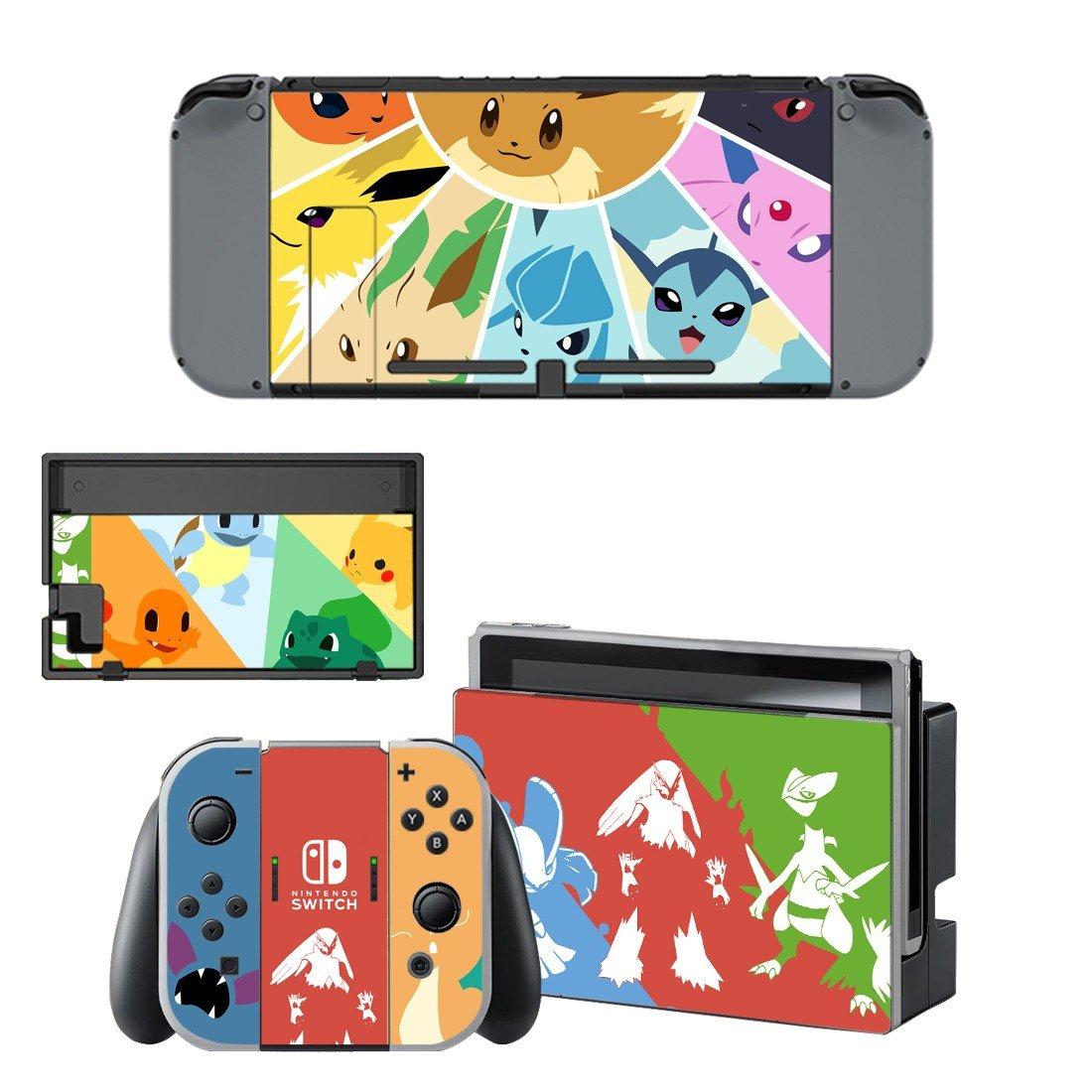 White pokemon decal for Nintendo switch console sticker skin