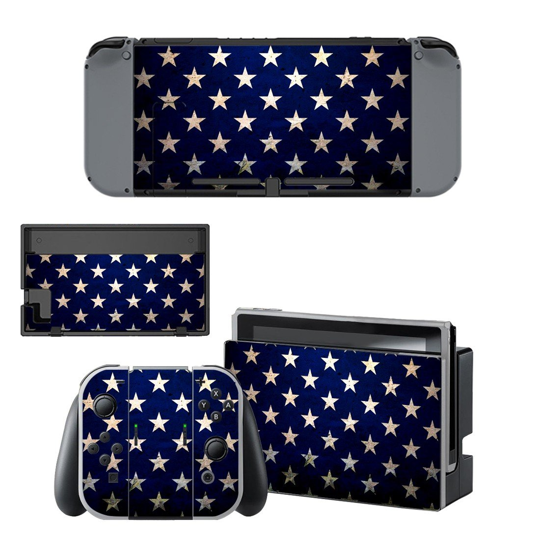 White stars decal for Nintendo switch console sticker skin