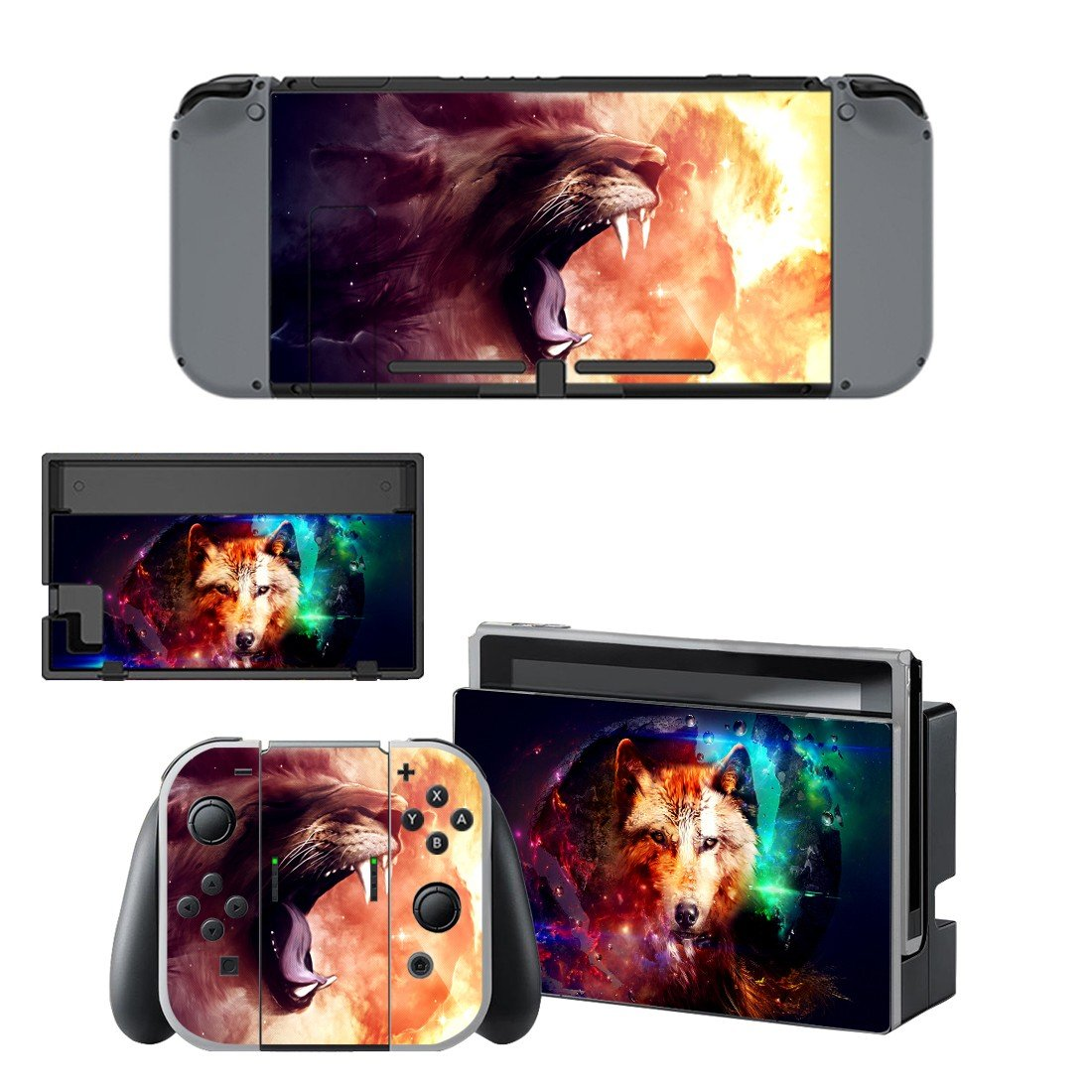Real wolf decal for Nintendo switch console sticker skin