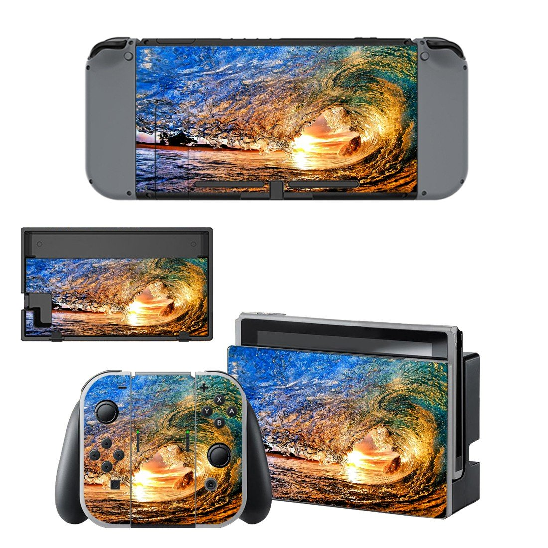 Water storm decal for Nintendo switch console sticker skin