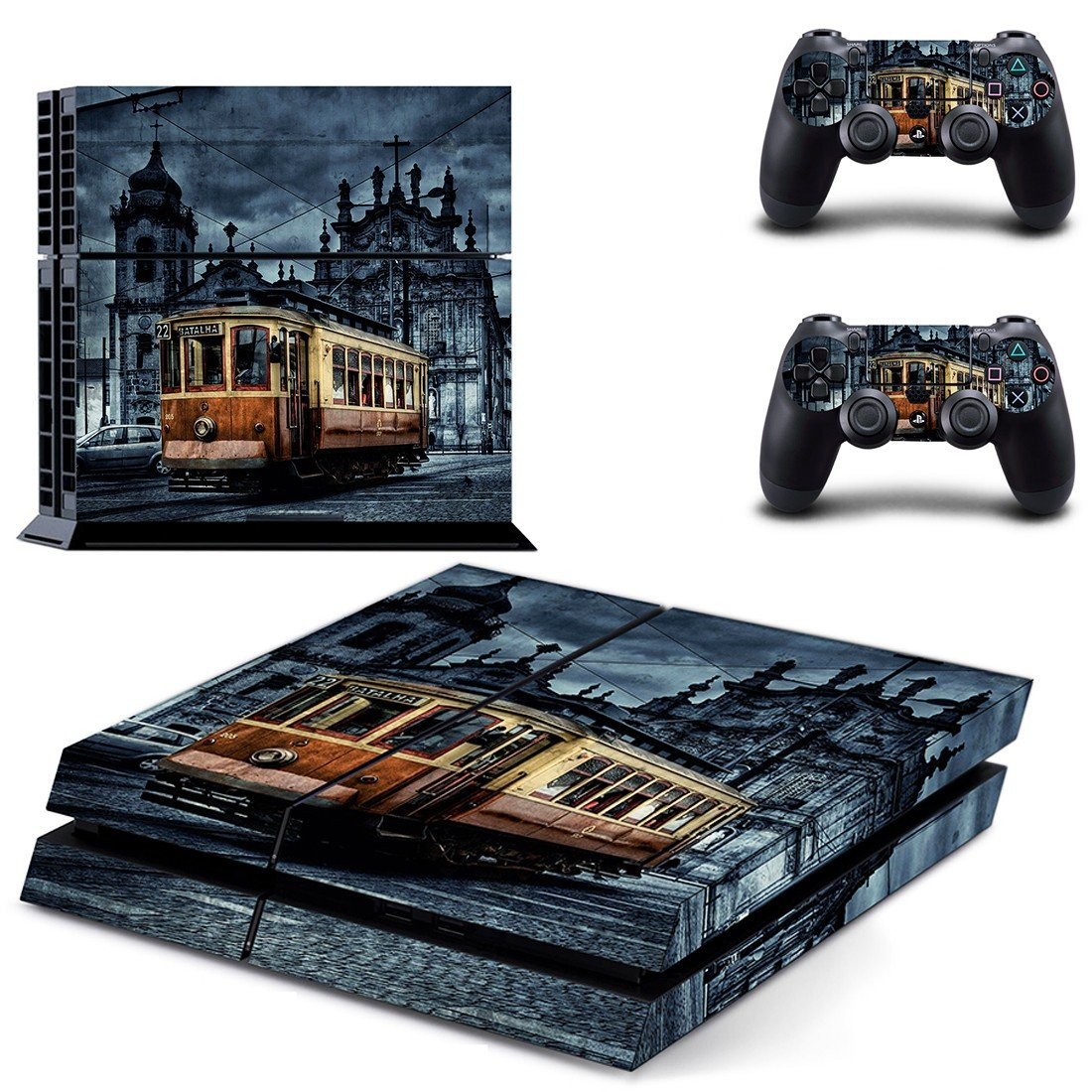 Tram wallpaper skin decal for ps4 console and controllers