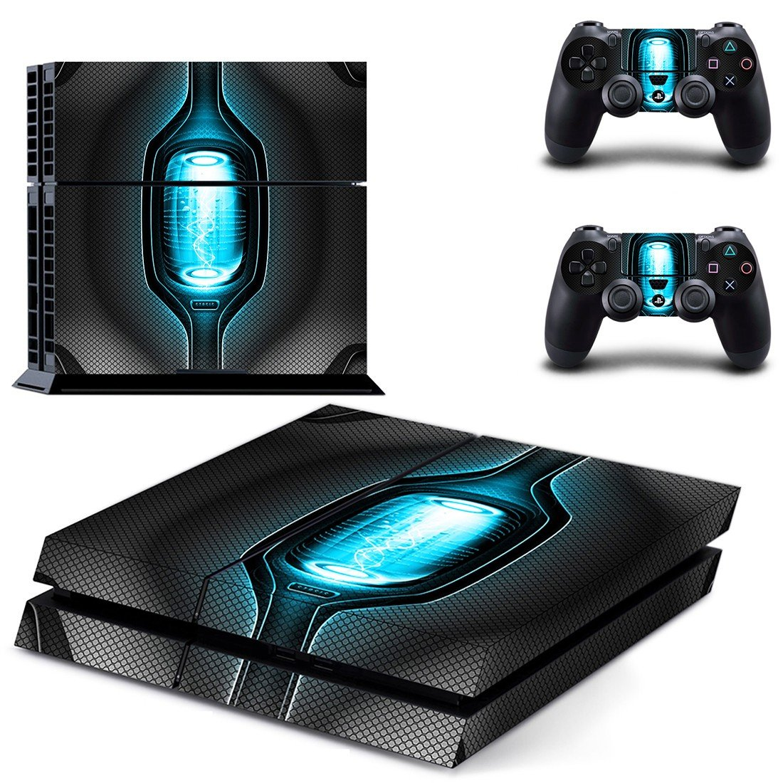 Tech wallpaper skin decal for ps4 console and controllers