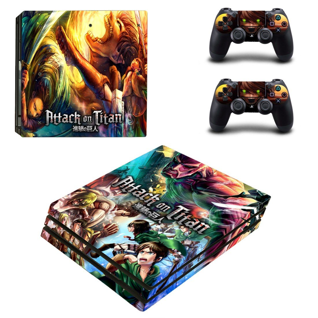 Attack on titan ps4 pro skin decal for console and controllers
