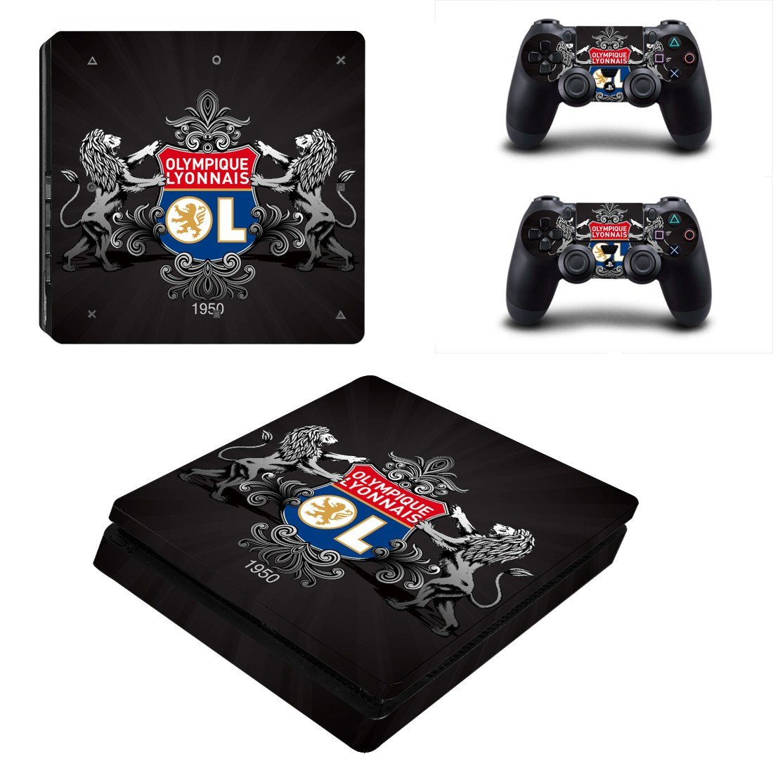 Olympique Lyonnais ps4 slim skin decal for console and controllers