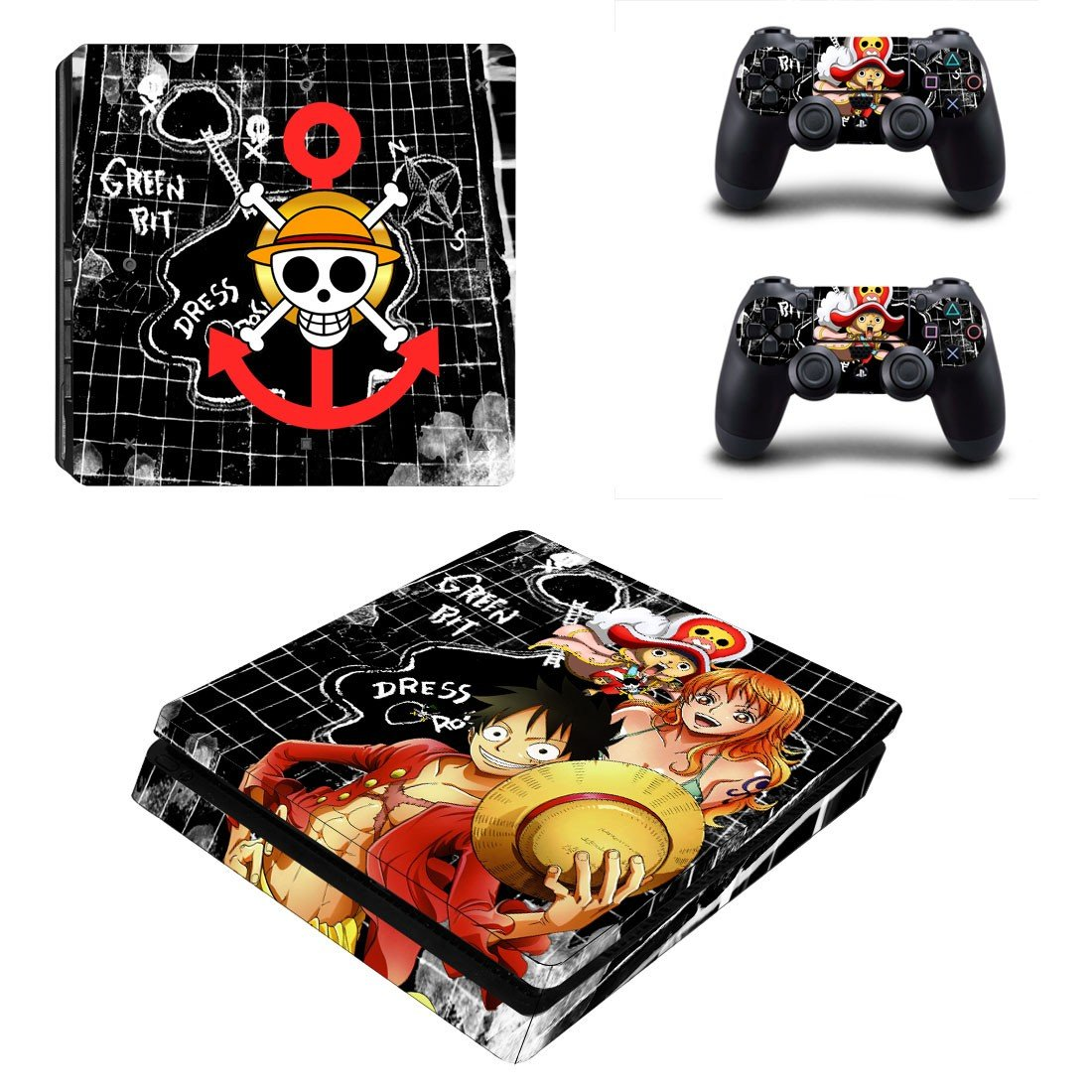 One Piece ps4 slim skin decal for console and controllers
