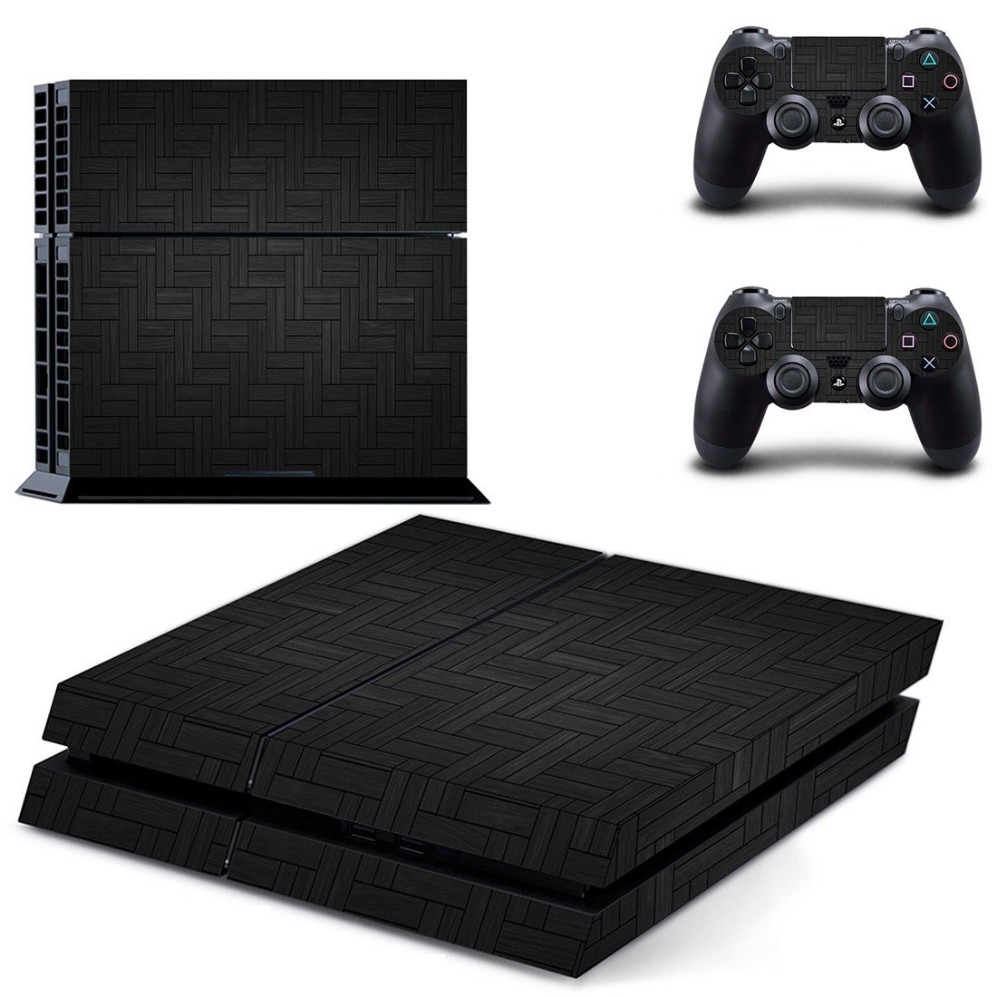 Tartan carbon board skin decal for PS4 PlayStation 4 console and 2 controllers