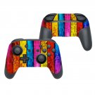 Colored wooden board decal for Nintendo switch controller pro sticker skin