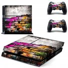 Colored brick wall skin decal for PS4 PlayStation 4 console and 2 controllers
