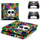 Colorful skull skin decal for PS4 PlayStation 4 console and 2 controllers