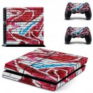 Graffiti brick wall skin decal for PS4 PlayStation 4 console and 2 controllers