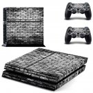 Black and white shade Brick wall skin decal for PS4 PlayStation 4 console and 2 controllers