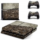 Rusted and Broken Brick wall skin decal for PS4 PlayStation 4 console and 2 controllers