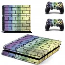Colourful brick wall print skin decal for PS4 PlayStation 4 console and 2 controllers