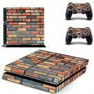Multicolour brick wall print skin decal for PS4 PlayStation 4 console and 2 controllers