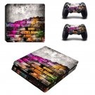 Colored brick wall ps4 slim skin decal for console and controllers