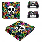 Colorful skull ps4 slim skin decal for console and controllers