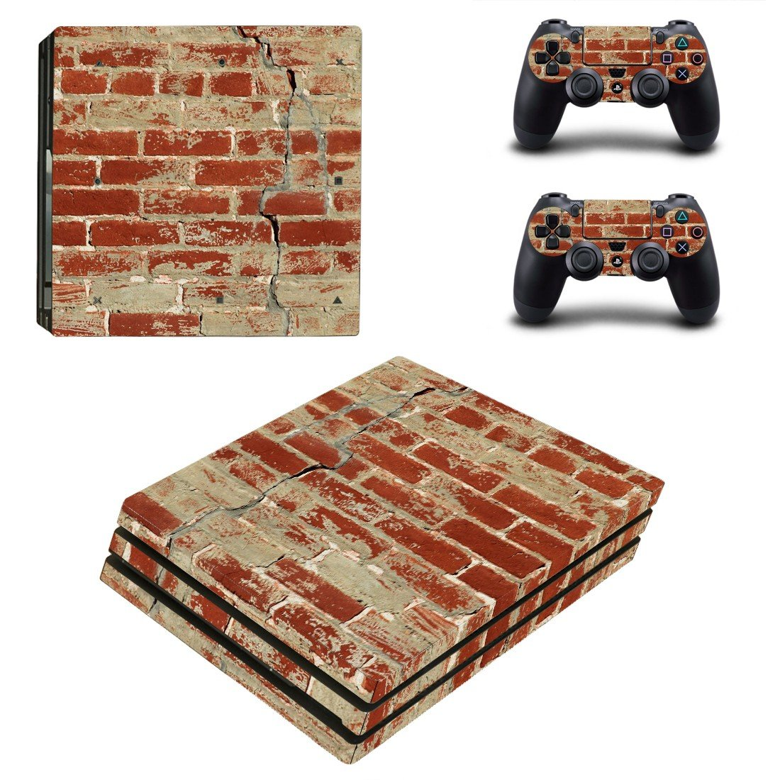 Rusted and Broken Brick wall ps4 pro skin decal for console and controllers