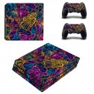 Colourful retro robots ps4 pro skin decal for console and controllers
