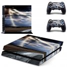 Lightning cloudy sky with road view ps4 skin decal for console and 2 controllers