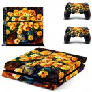 Yellow flowers oil painting ps4 skin decal for console and 2 controllers