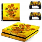 Flower paintaing ps4 skin decal for console and 2 controllers