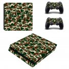 Bape tiger camo print ps4 slim skin decal for console and controllers