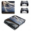 Lightning cloudy sky with road view ps4 slim skin decal for console and controllers