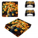 Flower paintaing ps4 slim skin decal for console and controllers