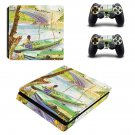 Fishing in spring ps4 slim skin decal for console and controllers