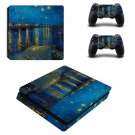 Starry night ps4 slim skin decal for console and controllers