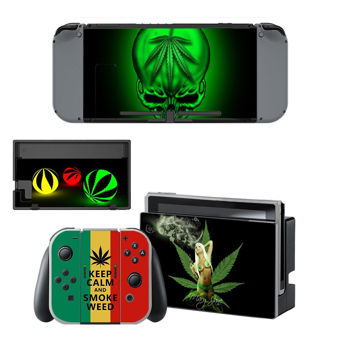 Keep Clam & Smoke Weed Nintendo switch console sticker skin