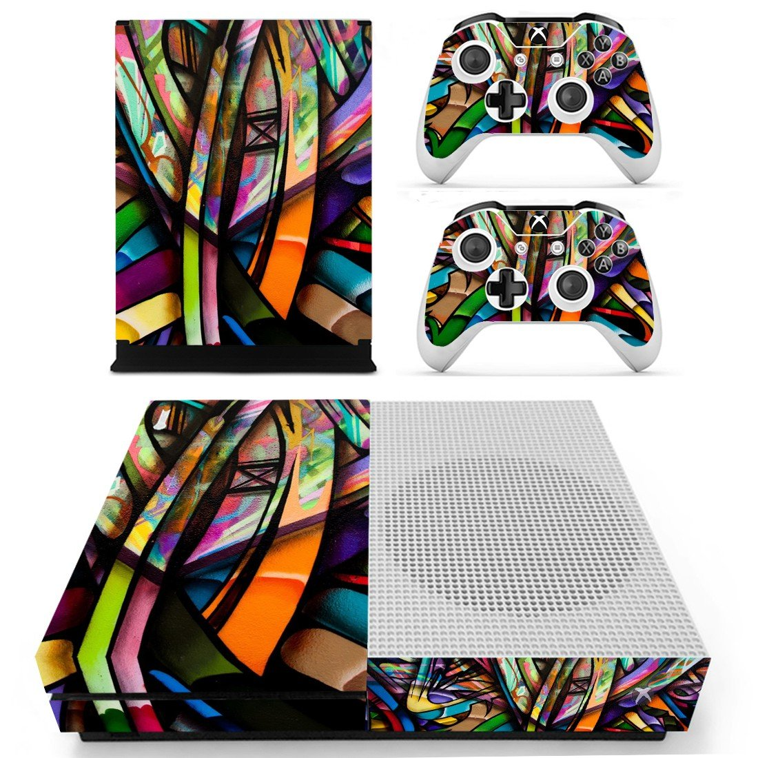 Colorful anime skin decal for Xbox one S console and controllers