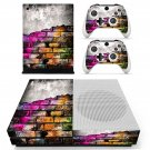 Colored brick wall skin decal for Xbox one S console and controllers