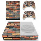 Multicolour brick wall print skin decal for Xbox one S console and controllers