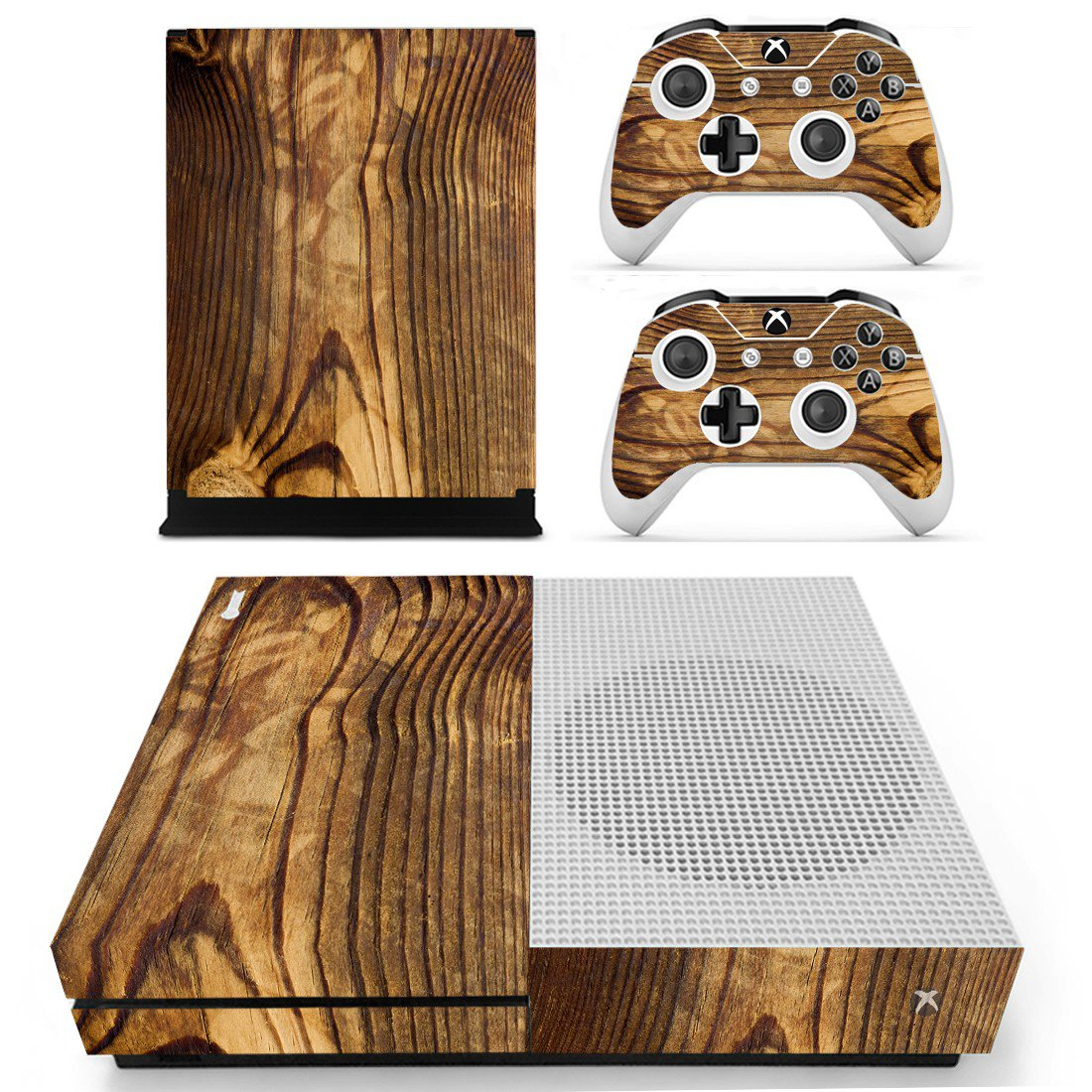 Tree trunk skin decal for Xbox one S console and controllers