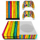 Colorful wooden board skin decal for Xbox one Slim console and controllers