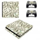 100 Dollar Bills Pattern ps4 slim skin decal for console and controllers