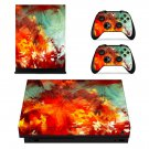 Brush Painting xbox one X skin decal for console and 2 controllers