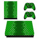 Hexagon Green Beehive xbox one X skin decal for console and 2 controllers