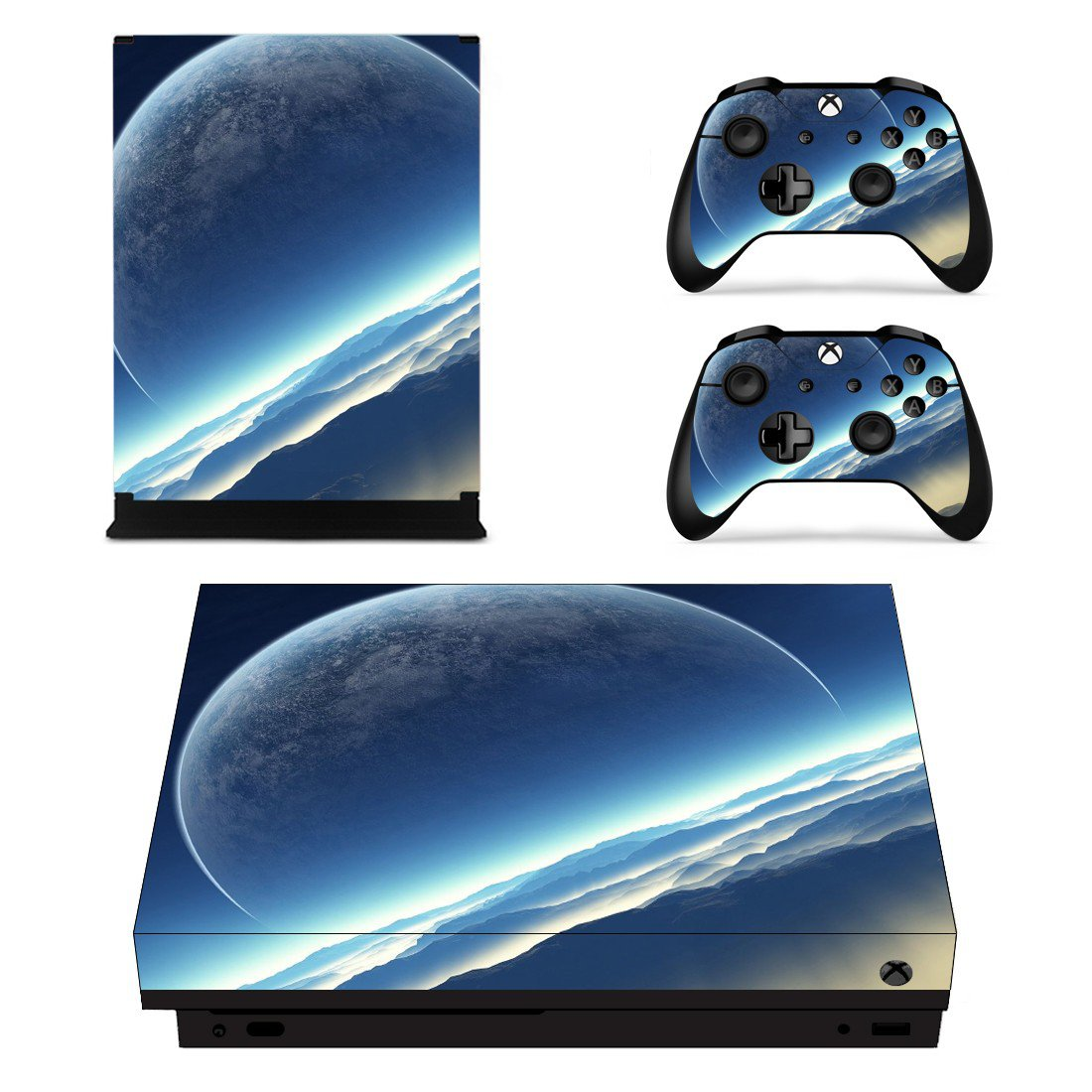 Spectacular Outer Space Planet View xbox one X skin decal for console and 2 controllers