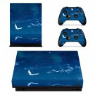 Blue sky with Flying bird xbox one X skin decal for console and 2 controllers