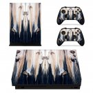Wooden Face Texture xbox one X skin decal for console and 2 controllers