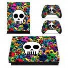 Colorful Skulls Sticker xbox one X skin decal for console and 2 controllers
