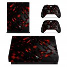 Abstract black and red shapes Design xbox one X skin decal for console and 2 controllers