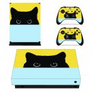 Cute black cat Design xbox one X skin decal for console and 2 controllers